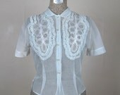 Vintage 1950s Blouse 50s Sheer Blue Nylon Blouse with Ruffles Size M