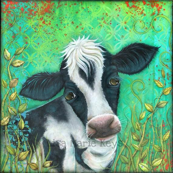 Colorful Kitchen Wall Art: Cow Art Print Colorful Cow Kitchen Wall Art Farm Decor