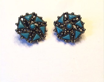 1950s Faux Turquoise Clip On Earrings NOS