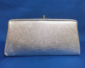 Classic Vintage Silver Leather Clutch Handbag 60s