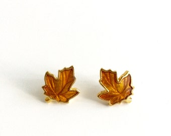 1990s Fall Maple Leaf Post Earrings