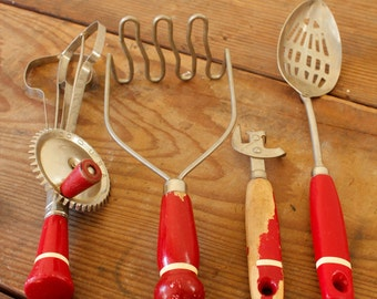 Rustic Red Handled Kitchen Utensils Wood Handles Vintage Kitchen Tools Your Choice