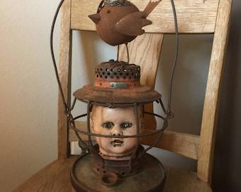 I am your light rustic lantern repurposed altered art doll