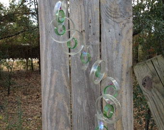 GLASS WINDCHIMES from RECYCLED bottles, musical and colorful,   clear green, mobile, garden decor, wind chimes