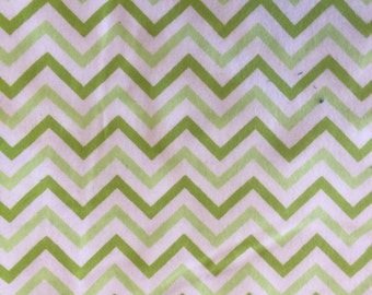 Chevron Green and White Flannel Print 2.5yds
