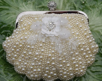 Ivory Bridal Clutch, Pearl Wedding Purse, Ivory Evening Bag, Beach Wedding Bag