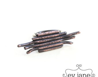 ON SALE Stripes Lines Wire Minimal Black Ring Copper Oxidized Boho Hippie Rustic Band Wire Stacking Adjustable Abstract by evjanemetalwork