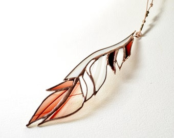 White And Ruby Red Glass Feather Stained Glass Suncatcher
