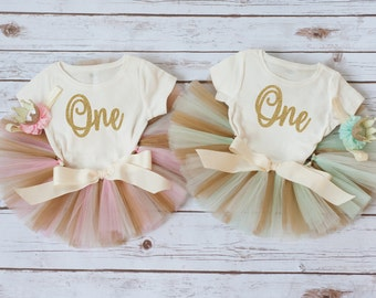 Twin baby girls outfit, twins first birthday, pink mint and gold twin outfits, twin girl clothing, twin girl cake smash twin birthday outfit