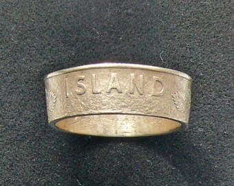 Bronze Coin Ring 1946 Iceland 1 Krona, Ring Size 7 and Double Sided