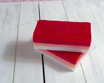 Handmade Cherry Blossom soap, shea butter and coconut milk soap, glycerine hand soap, bar soap, pink layered soap