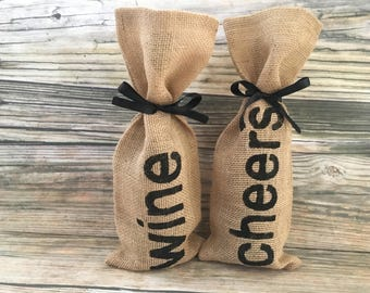 Burlap Wine Gift Bag, Alcohol Gift Bag, Wine and Beer Gift Bag, Wine Gift Bag