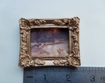 1:12th Ornate Picture/Mirror Frame in Gold Dolls House Miniature Accessory/Wall Hanging