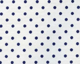 Fat Quarter --Kiyohara -- White with Navy Blue small Dot --100% Cotton Fabric