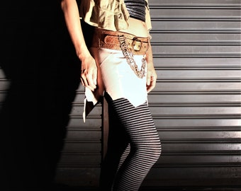 In Stock - Festival Leather Mini Skirt - Hadra - Nude Beige & Gold - with Leather Belt and Secret Pocket