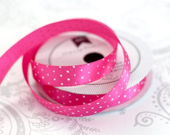 Hand Dotted Hot Pink Satin 3/8 -- 4 feet -- Amy Tangerine -- American Crafts
