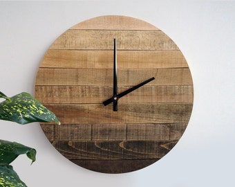 19in Rustic Wall Clock, Large Wall Clock, Weathered Wood Clock, Home Decor, Reclaimed Wood Decor, Ready to Ship, Gift Idea