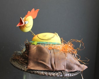 Vintage New York Creations Hat with Hen in Nest // Humorous Fascinator Hat // One of a Kind Easter Hat