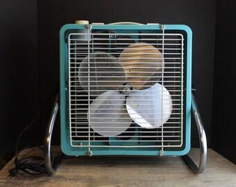 Vintage Eskimo Square Room Fan //Blue White Chrome // 3 Speeds