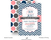 Navy & Coral Twins Baby Shower Invitations - Boy Girl - Party Printable - Printed Invite - Chevron Stripe Polka Dot - Retro - Sprinkle (NCT)