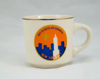 Vintage 1970s Boy Scout Mug, Boy Scouts of America New York City, Tea Mug, Coffee Mug, Vintage Coffee, Vintage Tea, Vintage Kitchenware, BSA