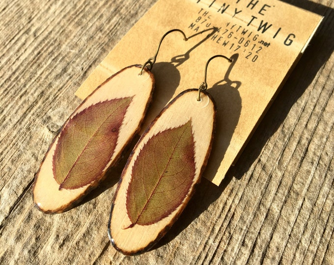 Real Rose Leaflet Earrings on Wood Slats Long Oval