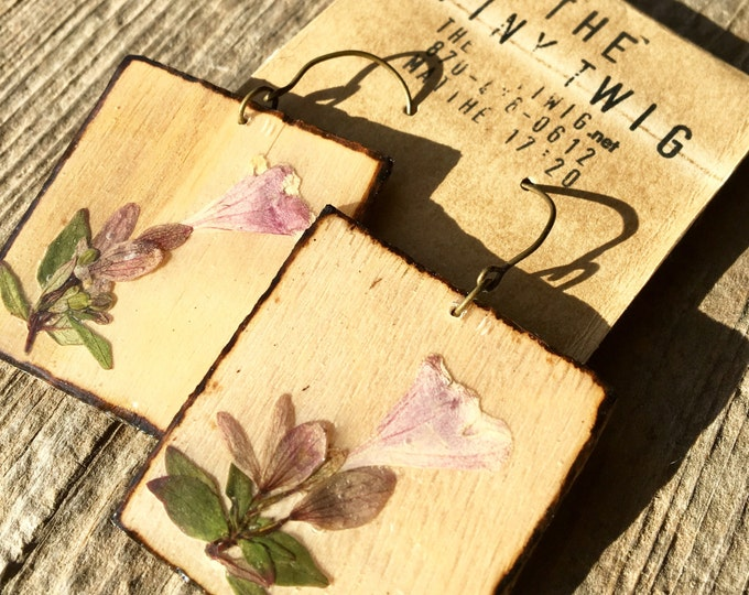Real Abelia Flower Earrings on Wood Slats Large Square