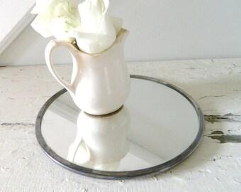 Vintage Vanity Mirror Round Silver