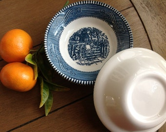 Currier & Ives vintage blue and white Royal china 10 small fruit bowls Set of 10