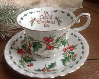 A Christmas Cup of Tea by Waldmen House Circa 1981 Discontinued Collectible Christmas Teacup and Saucer
