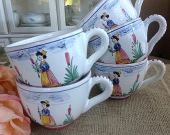 5 Vintage French Cups Chippy Shabby and Wonderful