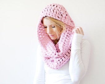 WINTER SALE the CHEROKEE cowl - chunky cowl scarf hood circle scarf - blossom - slightly ribbed