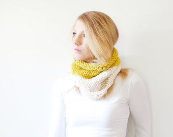 WINTER SALE the SOLOMON cowl - knit scarf chunky scarf cowl scarf - color block citron fisherman - Limited