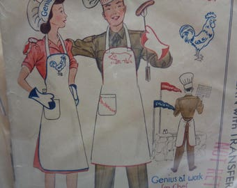 Vintage 1930s- McCall 1040- Chef Aprons-Chefs Hat-Mitts and Accessories