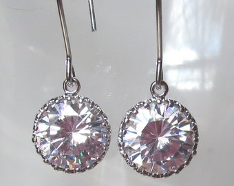 Simple CZ and Silver Earrings