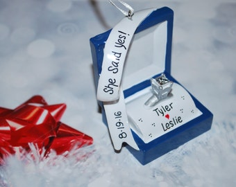 Personalized Engagement Ring Box Christmas Ornament