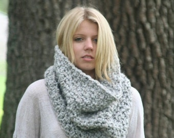 Trick Or Treat SALE Chunky Cowl Scarf  Neck Warmer Textured Crochet Hood  / THE LECONTE / Marble Gray