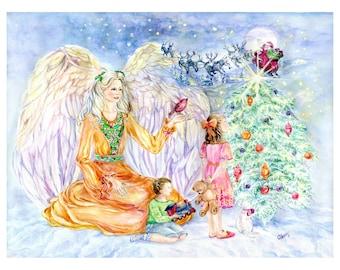 Angel Art, Christmas Angel Art, Santa's Sleigh with Reindeers,Red cardinal,Christmas tree, Christmas , Angel Art print  ,11x 14 art  print