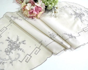 Vintage Table Runner or Dresser Scarf, Beige with a Machine Embroidered Taupe Floral Design,43 x 16,  Vintage Linens by TheSweetBasilShoppe