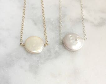 Pearl Necklace | Coin Pearl Necklace | Layering Necklace | Gifts For Mom | Fresh Water Pearl Necklace | Bridesmaids Necklace