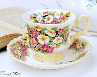 Royal Albert Teacup and Saucer Fragrance Series Clematis, English Bone China Tea Cup Set, Tea Party, ca. 1970-1980