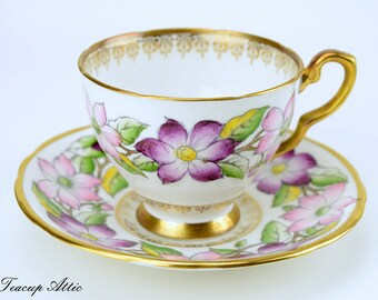 Royal Stafford Clematis Teacup and Saucer Set, English Bone China, Tea Party, Wedding Gift, ca. 1950