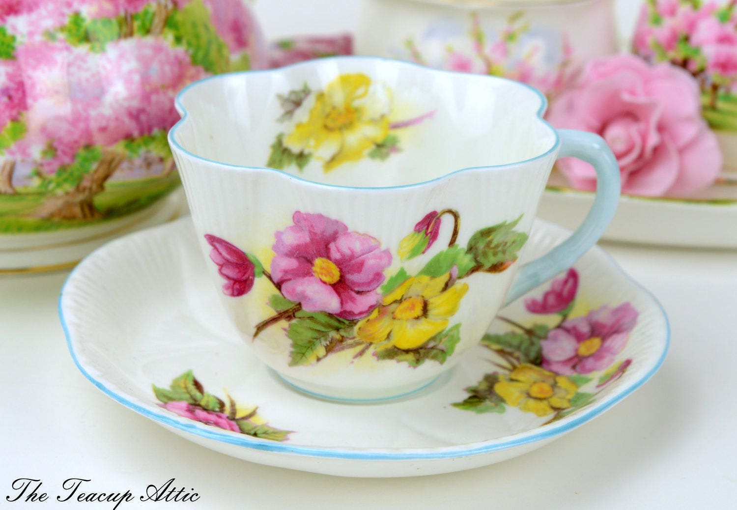 Shelley Begonia Teacup And Saucer Set, English Bone China, Wedding Gift, Fluted Teacup,  ca. 1945-1966