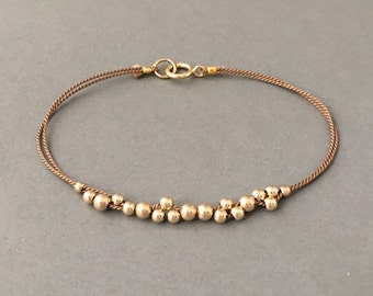 Gold Fill Cluster Beaded Silk String Bracelet also available in Silver and Rose Gold Fill