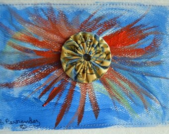 Orange Watercolor Swirl on Blue Stitched Postcard
