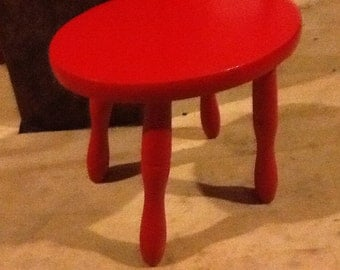 Red Wooden Step Stool Childs Chair
