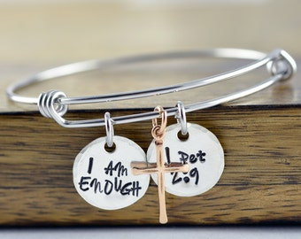 I am ENOUGH Bangle Bracelet - Inspirational Gift- Best Friend Gift - Inspirational Jewelry - Personalized Hand Stamped Jewelry - Religious