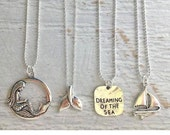 beach jewelry, mermaid necklace, nautical jewelry, mermaid jewelry, beachcomber charm necklace, silver necklace, dreaming of the sea