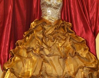 Upcycled Prom Dress Animal Print, unique Prom Dress Size 8 princess cut animal print corset full shiny organza copper skirt
