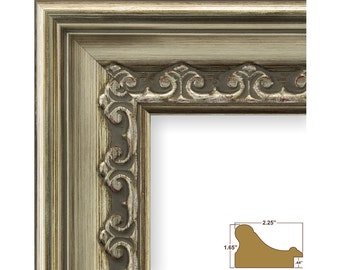 """Craig Frames, 8x10 Inch Brushed Silver Picture Frame, Arqadia Gothic, 2.25"""" Wide (834150810)"""